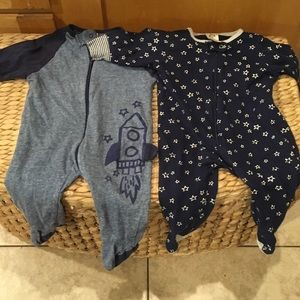 Blue Rocket and Stars Footie PJ Organic Cotton